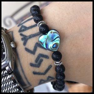🔴SALE ! Genuine abalone heart lava rock bracelet
